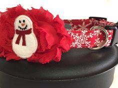 Dog collar puppy collar snowman dog collar by DazzleDoggieCo