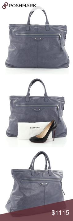 """Balenciaga Arena Travel Bag Classic Studs Leather Condition: Great. Wear and darkening on base and opening corners and handles. Slight creasing on interior opening trim, light wear in interior, scratches on hardware.  Accessories: Dust bag.  Measurements: Handle Drop 5"""", Height 15"""", Width 21"""", Depth 8"""" Designer: Balenciaga Model: Arena Travel Bag Classic Studs Leather Item Number: 26090/01 No counter offers accepted. Balenciaga Bags Shoulder Bags"""