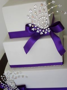 White and Purple Bling Wedding or bridal shower cake!