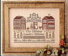 "This cross stitch pattern is titlted ""City Stitcher Country Stitcher"" and depicts two stitchers who live bery different lives.  This pattern..."