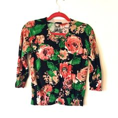 💰⬇️ Talbots Rose Flower Shirt Elbow long sleeves. Pink roses cover the shirt almost like water color. Decorative buttons go down the middle of the shirt as well. Like new.  ***ALSO FOUND ON Ⓜ️ ERCARI @shopcherrypop W/ FREE SHIPPING Talbots Tops Blouses