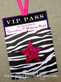 "all access party invitation | Rock Star"" VIP Pass"