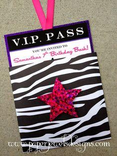 Rock Star Party VIP Pass Invitation ~ www.paperjewelsdesigns.com