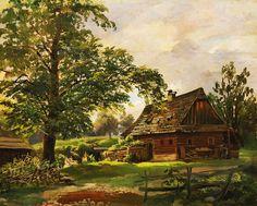 Antonín Mánes (1784-1843) - Krajina s dřevěným stavením. Europe, Cabin, House Styles, Painters, Garden, Life, Art, Fabrics, Craft Art
