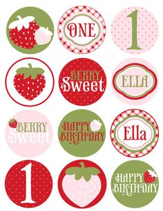 strawberry picnic party printables {Love the Day on Etsy}