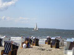 Die blau-weiß gestreiften Strandkörbe stehen am Strand von Norderney.