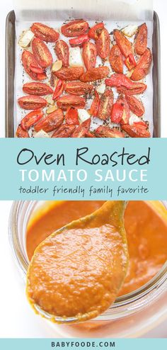thick, creamy, and packed with healthy summer flavors. With just 5 minutes of prep, this is a homemade tomato sauce recipe that you'll turn to all summer long to help your picky eater get their veggies in! Oven Roasted Tomatoes, Roasted Tomato Sauce, Creamy Tomato Sauce, Homemade Tomato Sauce, Vegan Tomato Sauce Recipe, Pasta Sauce Recipes, Healthy Pasta Recipes, Veggie Recipes, Baby Food Recipes