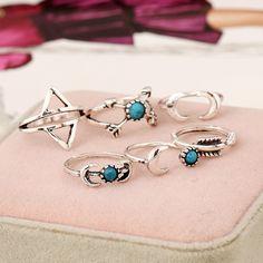 Kit composto por 6 anéis estilo boho com pedra turquesa Tamanhos variados não reguláveis nº11 ao nº20