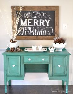 green buffet makeover- she used the exact same thing I'm going to use with the china cabinet, Annie Sloan Florence chalk paint with a dark wax! Merry Little Christmas, Christmas Signs, All Things Christmas, Christmas Home, Christmas Holidays, Christmas Decorations, Christmas Vignette, Christmas Buffet, Xmas
