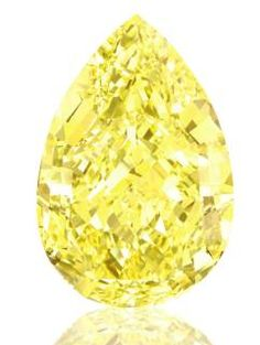 The Sun-Drop Diamond, at 110.03 Carats, has been graded Fancy Vivid Yellow, the highest colour grading for a yellow diamond, by the Gemological Institute of America (GIA). This exceptional stone ranks as the largest known pear-shaped fancy vivid yellow diamond in the world, and has a purity of VVS1.
