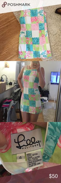 Lilly Pulitzer dress Patchwork Lily Pulitzer dress. Size 4 but definitely fits a bit like a 2. Shift style. Super cute just too small for me :) Lilly Pulitzer Dresses Mini