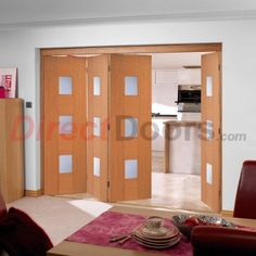 Nuvu Roomfold Catalonia Oak 4 Door Set with Frosted Glass, 2078mm high and 2816mm wide  #directdoors