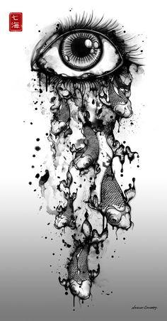 Dessin - Oeil qui pleur des poissons à l'encre de chine by Nanami Cowdroy
