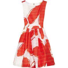 Alice + Olivia Essie printed jacquard dress (740 BRL) ❤ liked on Polyvore featuring dresses, vestidos, red, elastic dress, lining dress, short loose dresses, red loose dress and short red dress