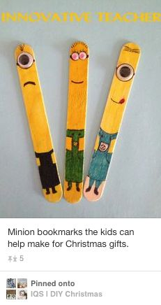 minion bookmarks made out of tongue depressors