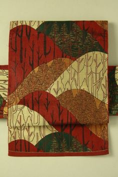 Brown nagoya obi / 弁柄茶系と多色 遠山木立柄 六通八寸名古屋帯   #Kimono #Japan http://global.rakuten.com/en/store/aiyama/