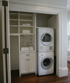 Hidden laundry closet with stackable front loading washer and dryer and built-in storage drawers and shelves with beadboard paneling. Laundry Room Closet, California Closets, Room Closet, Laundry Closet, Laundry, White Rooms, Stackable Washer And Dryer, Room Makeover