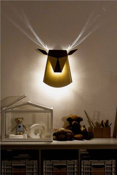 Deer shaped Wall Lamp with Cool Antlers Light Effect Popup Lighting image