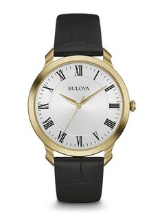 Stainless steel case in the gold-tone finish and white dial Croco-embossed  black leather strap Quartz Movement Water Resistant To 9679e9e8afdaa