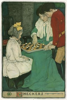 """Art by Jessie Willcox Smith - """"Checkers."""""""