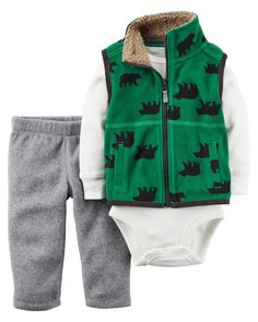 Carter's Baby Boys Vest Sets, Green, NB: micro vest boy green bear with hit pant Baby Boy Vest, Baby Boy Newborn, Baby Boy Outfits, Kids Outfits, Baby Baby, Niñas Carters Baby, Carters Baby Clothes, Baby Clothes Shops, Baby Girl Christmas