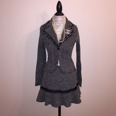 "Classic Boucle Tweed Black and White Suit Set. Brand: Faith Passion purchase from Macy's. Junior Size 9 (15"" waist x 13"" length) skirt and Junior Size 7 (16"" arm pit x 21"" length) blazer. Faith Passion Jackets & Coats Blazers"