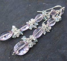 Pink amethyst aquamarine earrings in by seafairiesjewelbox on Etsy, $82.00