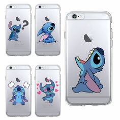 Funny Cute Stitch Cartoon Emoji Soft TPU Clear Phone Case Fundas Coque For iPhone 6 6S 6Plus 7 7Plus 5 5S SE 5C SAMSUNG Galaxy