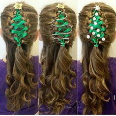 Ribbon Christmas Tree Hair Braid wonderful DIY The Perfect DIY Ribbon Braided Christmas Tree Hairstyle Christmas Tree Hair, Christmas Ribbon, Christmas Time, Christmas Ideas, Celtic Christmas, Xmas Trees, Funny Christmas, Christmas Decorations, Ribbon Braids