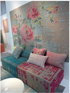 Amazing cross stitch embroidery wall art, made from pegboards! This is gorgeous!