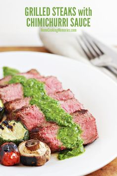 This Grilled Steak with Easy Chimichurri Sauce recipe is great for Father's Day grilling & cookouts all summer long. The Chimichurri Sauce is made of cilantro, parsley, vinegar, olive oil, and other herbs/seasonings and only takes minutes to prepare.  Excellent with your favorite grilled meats.