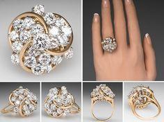 3 1/2 Carat Diamond Cluster Cocktail Ring 18K Gold