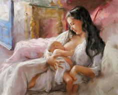 pinturas-al-oleo-madres-con-bebes-en-brazos