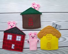 The Three Little Pigs Felt Finger Puppet Toys PDF Pattern