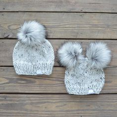 d5219081 Mommy and Me Set with double pom pom hat for baby Mom And Daughter Matching,