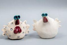 2 hens animal art Handmade Ceramic Hen Ceramic Farm by LaKuritza