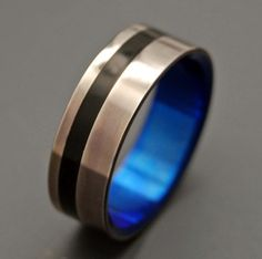 Water Buffalo Horn Offset Inlay with Blue Interior! WEDDING BAND! So cool!