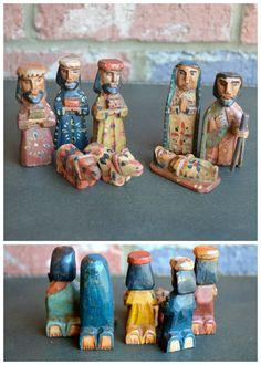 small wood nativity set   guatemala.