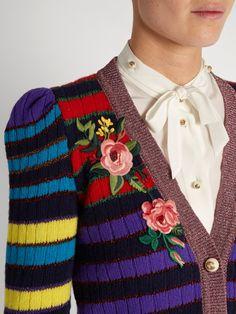 Gucci Floral-appliqué striped wool-blend cardigan