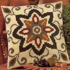 Geometric Mini Embroidered Cushion Tapestry Kit Morris and Sons Cross Stitch Borders, Cross Stitch Kits, Cross Stitch Designs, Cross Stitching, Cross Stitch Patterns, Hand Embroidery Art, Embroidery Patterns Free, Loom Patterns, Cross Stitch Embroidery