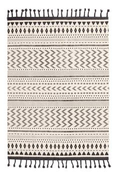 Tasseled Cotton Rug - Natural white/charcoal gray - Home All | H&M CA 1
