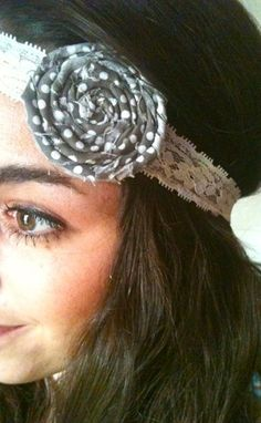 Wrap Me Up fabric rosette headband in grey by PostscriptThoughts, $12.00