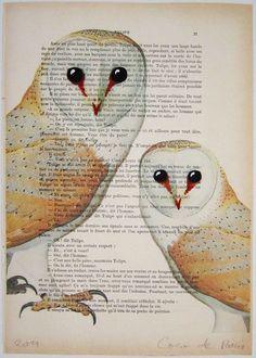 """2 совы, оригинальные произведения искусства ручной росписью Смещаная 'La Petit Иллюстрация """"1920 известный журнал Parisien"""