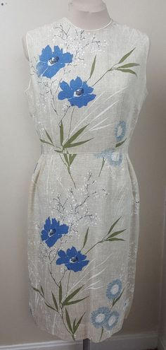 Vintage 1960s Stacy Ames natural linen sheath dress large blue floral print 38  #StacyAmes #Sheath