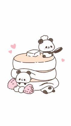 Wallpaper   Cute   Panda   Pancakes   Illustration