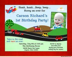 Transportation Themed Birthday Party Invitation Idea