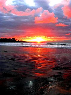 A California Valentine   pink sunset, low tide, San Diego by moonjazz~~