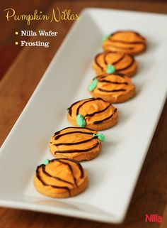 Mini pumpkins made with Nilla Wafers and frosting can be served any time in the fall. Make as a treat for the family or to serve at a party.