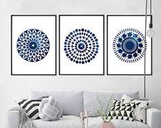 Large Abstract art Prints Watercolor Indigo Blue Navy Wall art Minimalist art Geometric Prints set Extra Large Paintings Circles Mandala