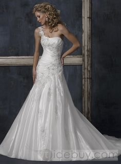 Gorgeous Organza A-line One Shoulder Sleeveless Embroidery Wedding Dresses